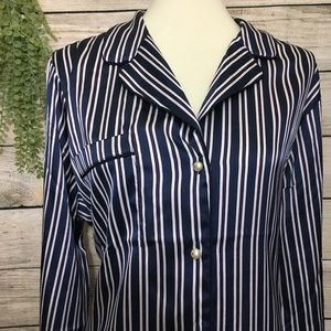 Banana Republic Navy/Purple Stripe Button Down